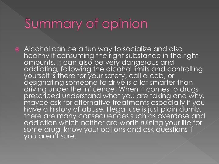 Summary of opinion