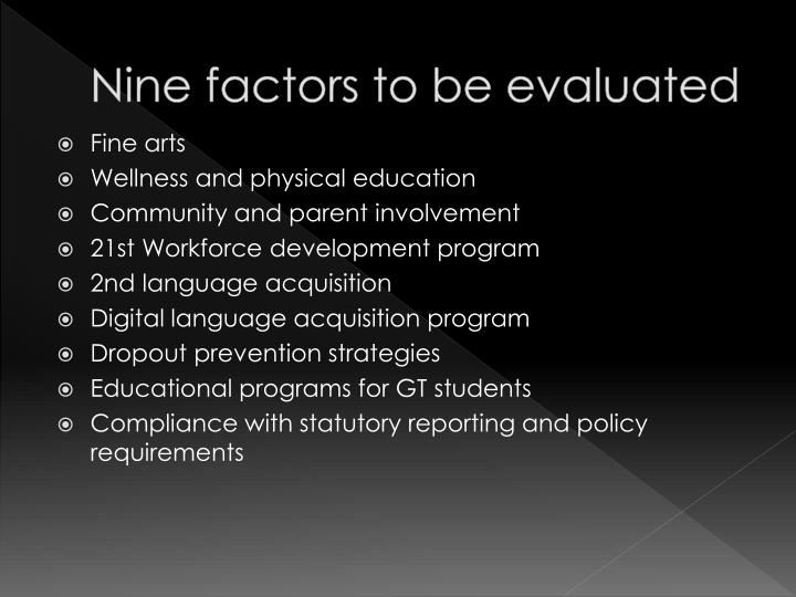 Nine factors to be evaluated