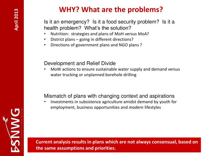 WHY? What are the problems?