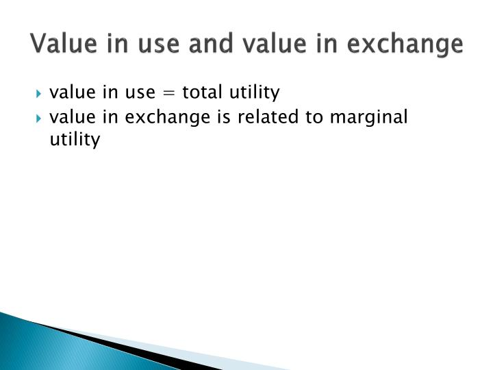 Value in use and value in exchange