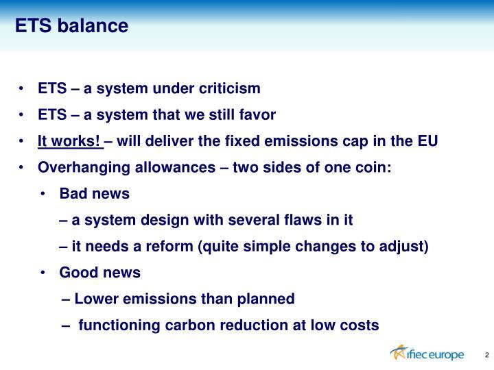 ETS balance