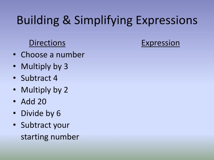 Building & Simplifying Expressions