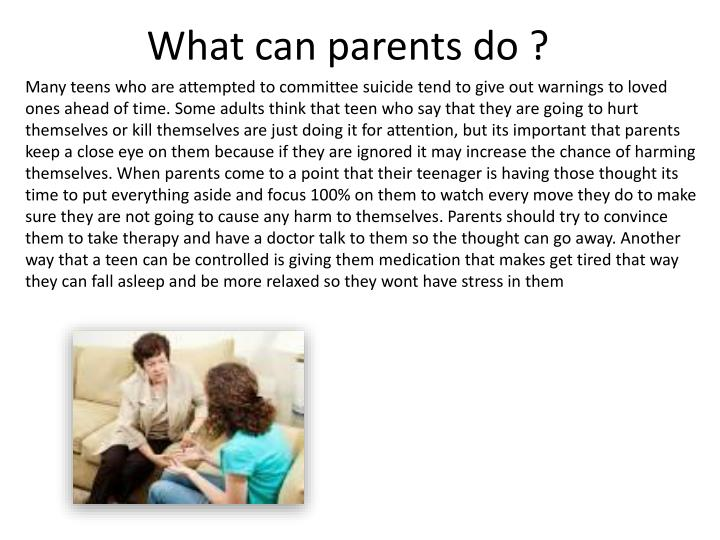 What can parents do ?