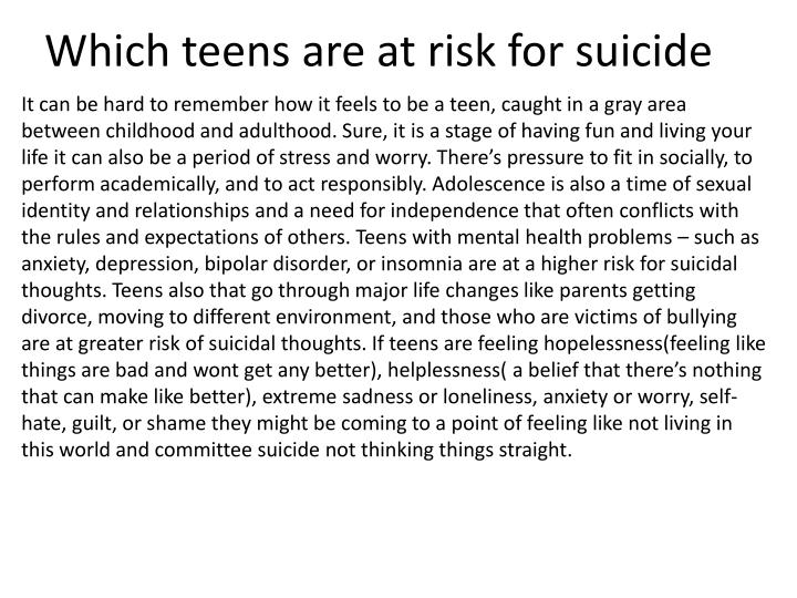 Which teens are at risk for suicide