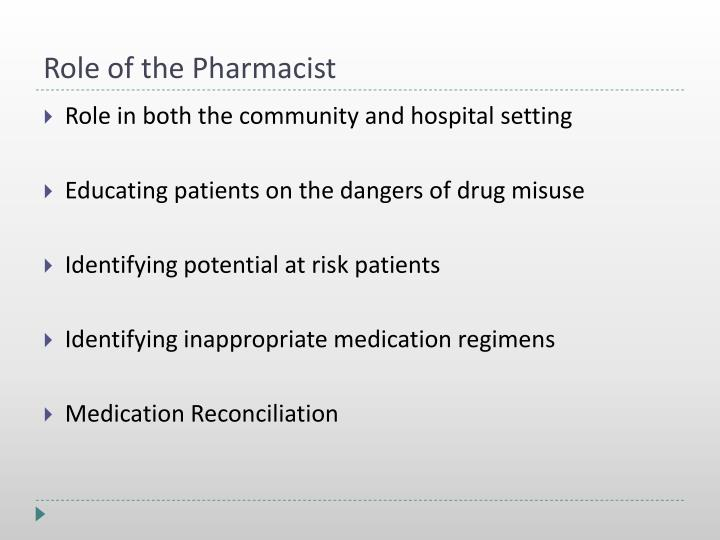 Role of the Pharmacist