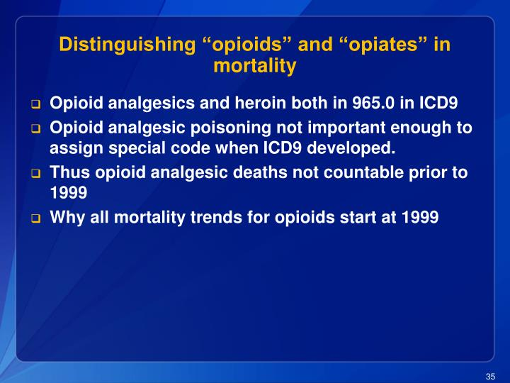 """Distinguishing """"opioids"""" and """"opiates"""" in mortality"""