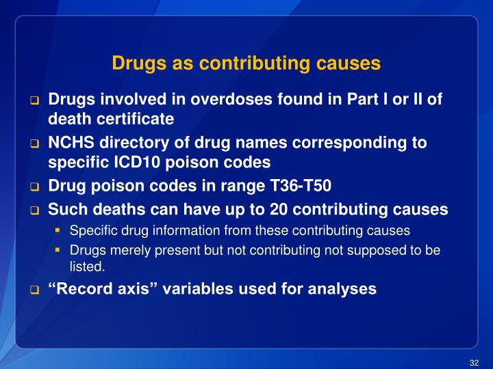 Drugs as contributing causes