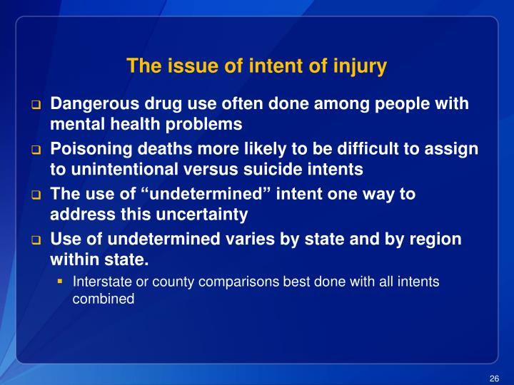 The issue of intent of injury