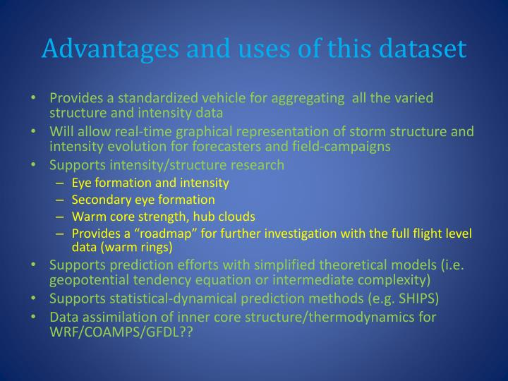 Advantages and uses of this dataset