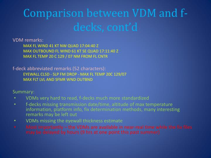 Comparison between VDM and f-decks, cont'd
