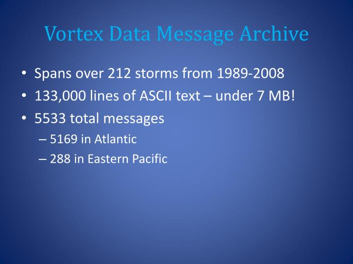 Vortex Data Message Archive