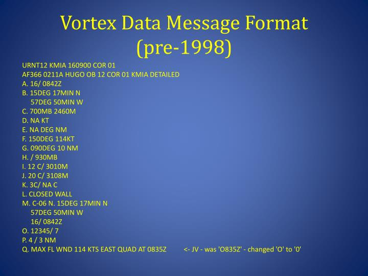 Vortex Data Message Format
