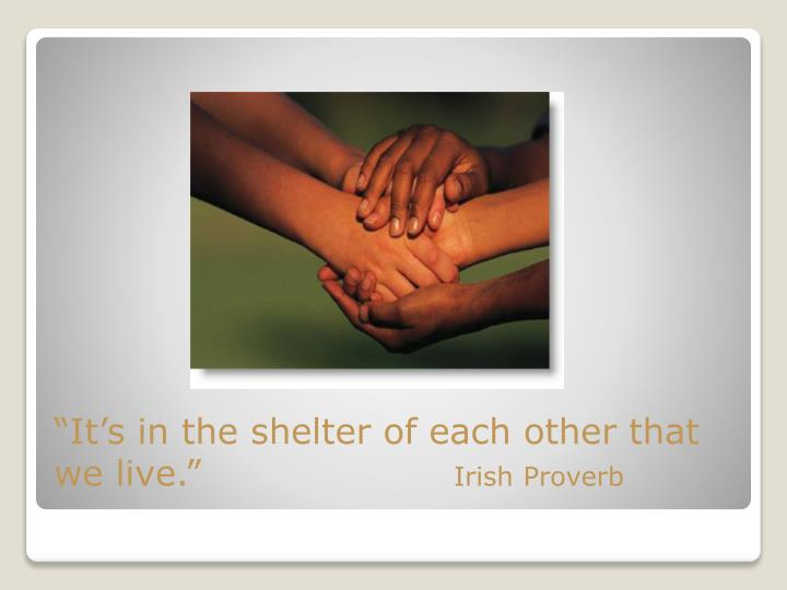 """It's in the shelter of each other that we live."""