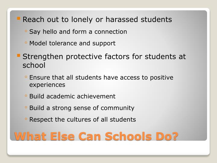 Reach out to lonely or harassed students