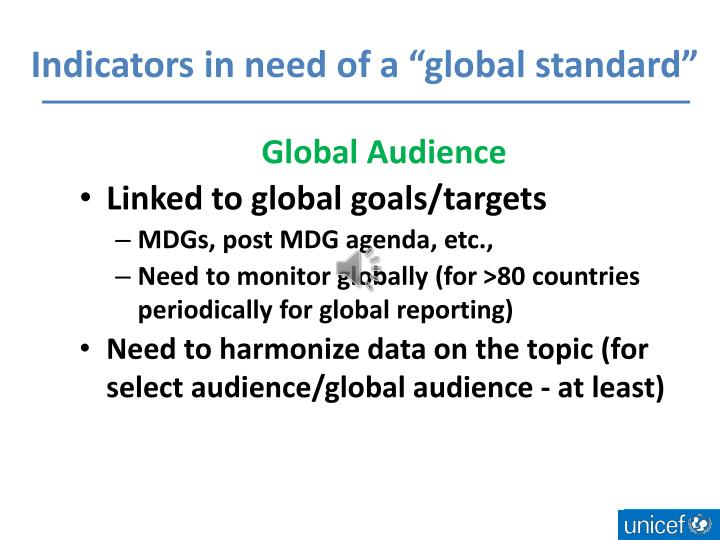 """Indicators in need of a """"global standard"""""""