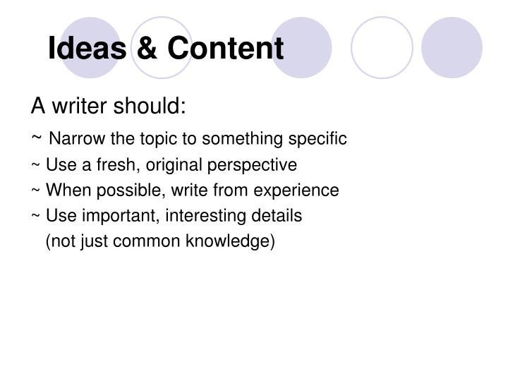 Ideas & Content