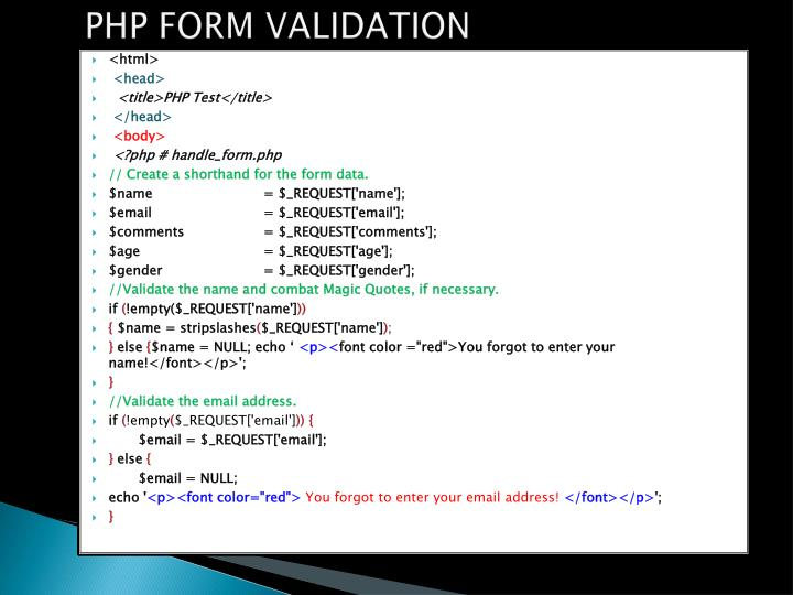 PHP FORM VALIDATION