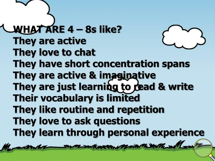 WHAT ARE 4 – 8s like?
