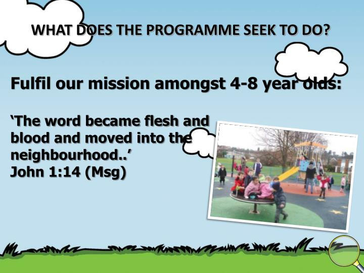 WHAT DOES THE PROGRAMME SEEK TO DO?