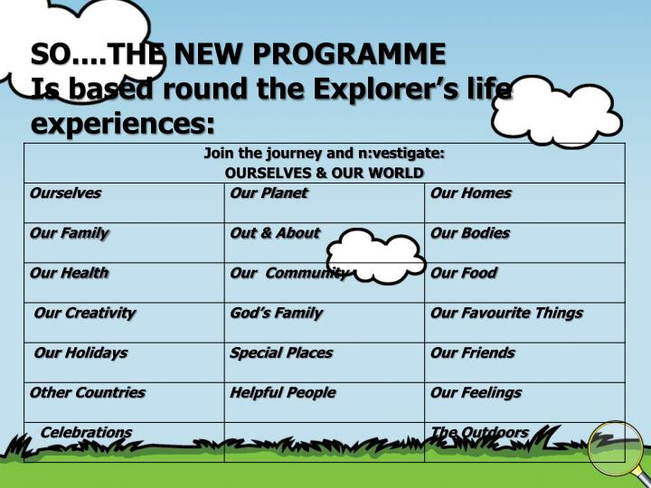 SO....THE NEW PROGRAMME