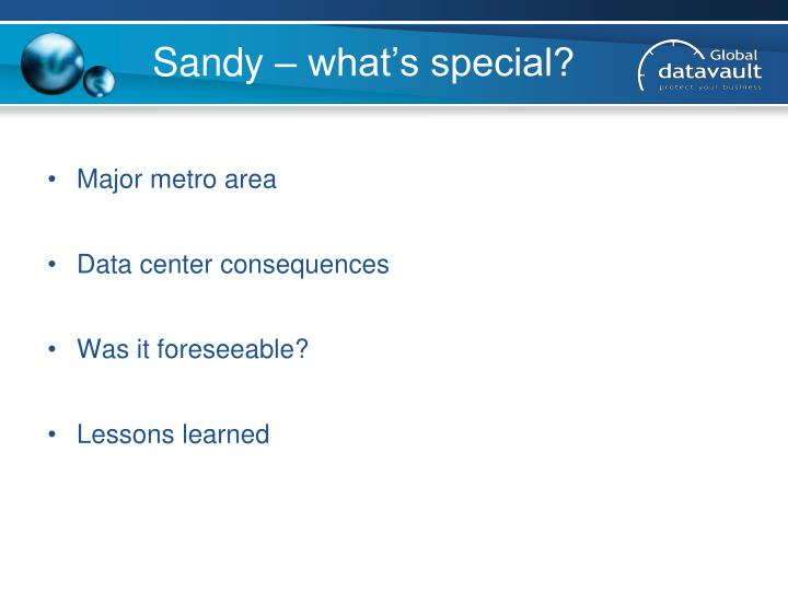 Sandy – what's special?