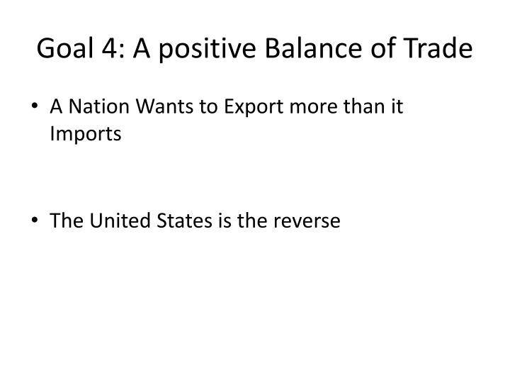 Goal 4: A positive Balance of Trade