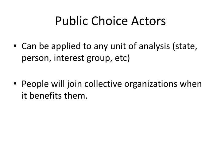 Public Choice Actors