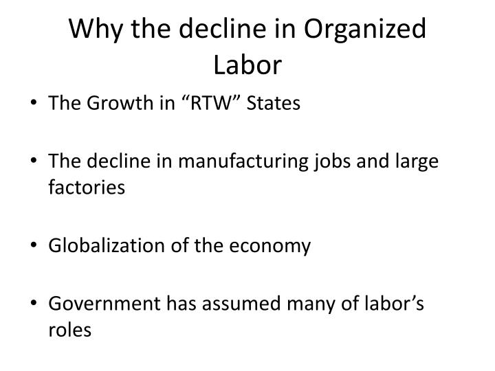 Why the decline in Organized Labor