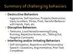 summary of challenging behaviors