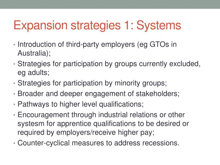 Expansion strategies 1: Systems