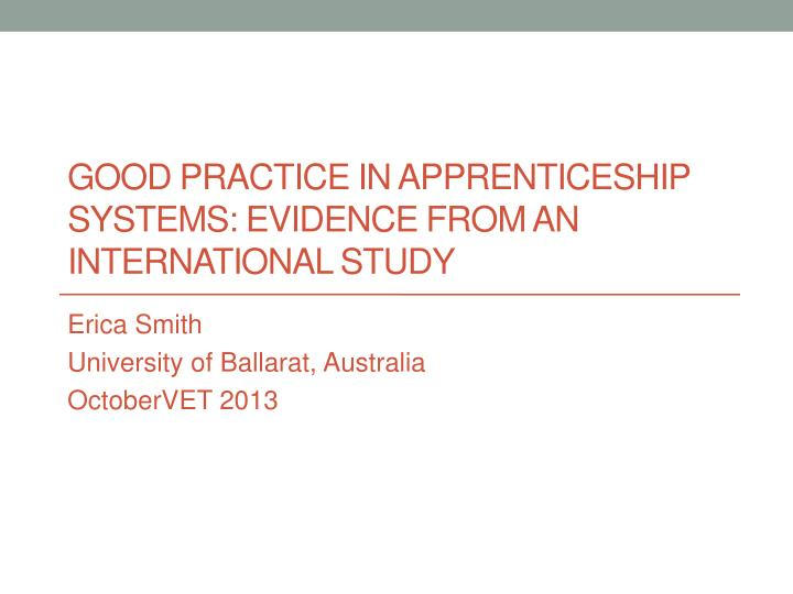 good practice in apprenticeship systems evidence from an international study
