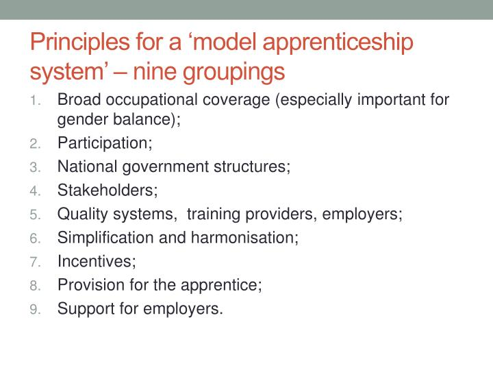 Principles for a 'model apprenticeship system' – nine groupings