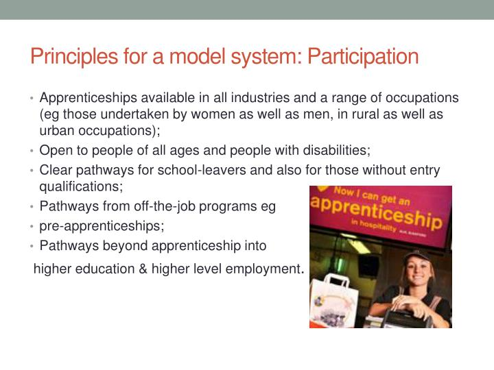 Principles for a model system: Participation