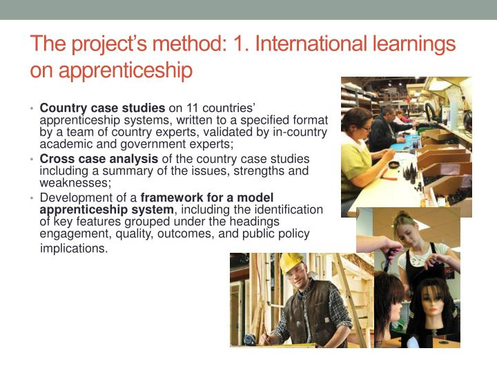 The project's method: 1. International learnings on apprenticeship