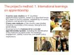 the project s method 1 international learnings on apprenticeship