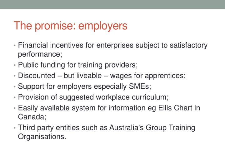 The promise: employers