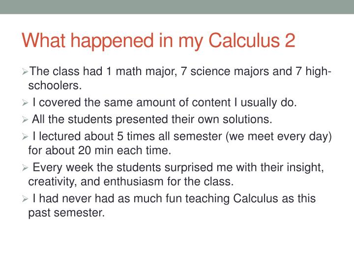 What happened in my Calculus 2