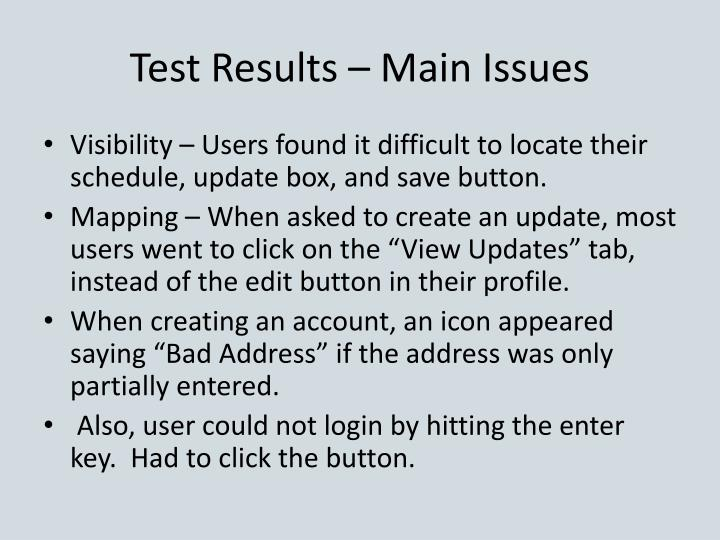 Test Results – Main Issues