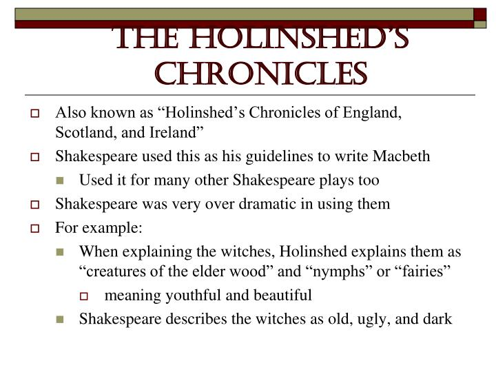The holinshed s chronicles