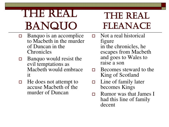 Banquo is an accomplice to Macbeth in the murder of Duncan in the Chronicles