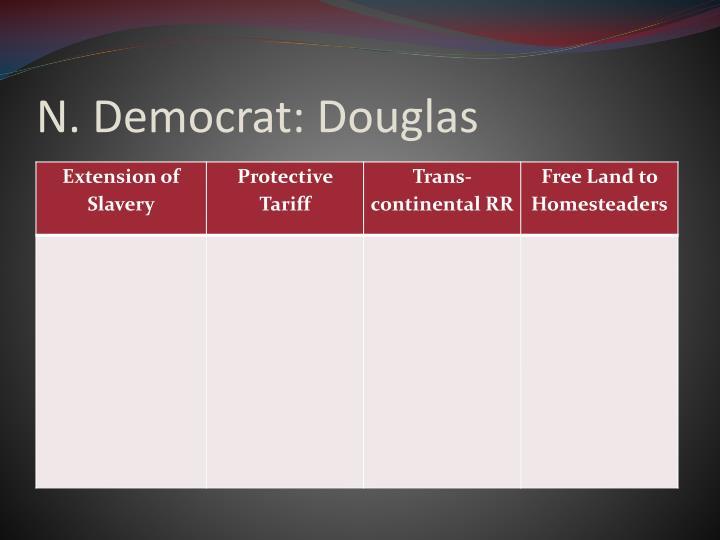 N. Democrat: Douglas