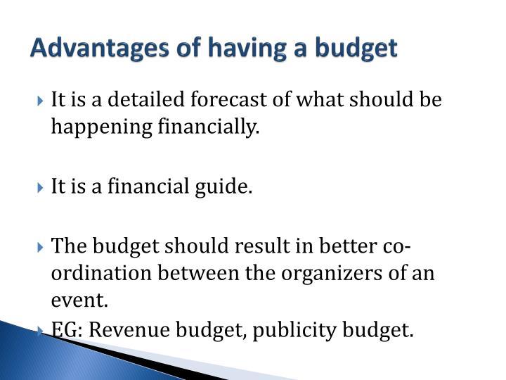 Advantages of having a budget