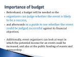 importance of budget
