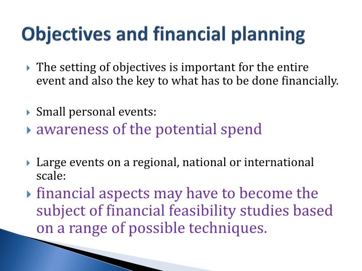 Objectives and financial planning