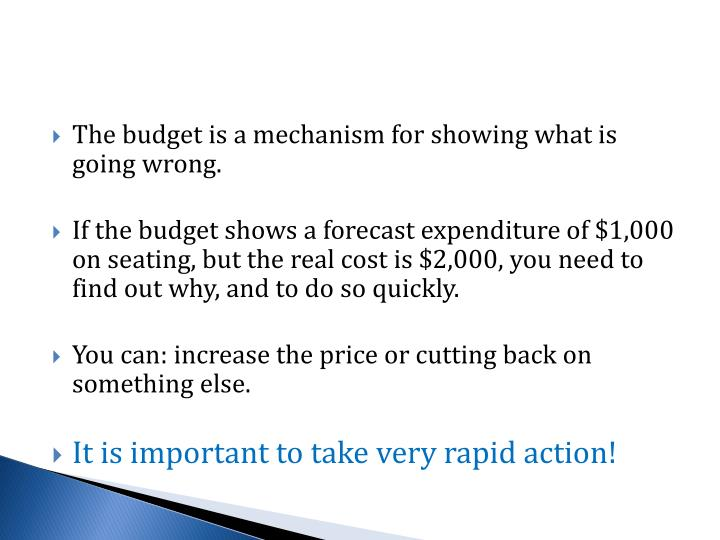 The budget is a mechanism for showing what is going wrong.