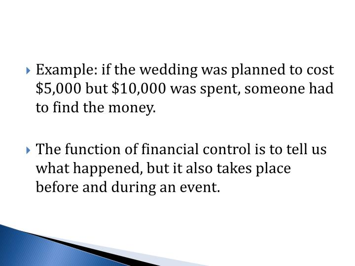 Example: if the wedding was planned to cost $5,000 but $10,000 was spent, someone had to find the money.