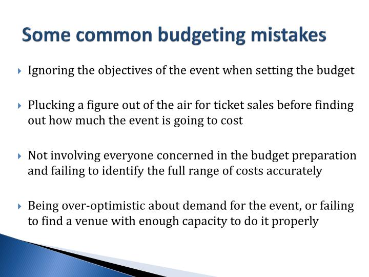 Some common budgeting mistakes