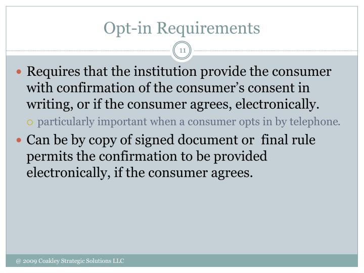 Opt-in Requirements
