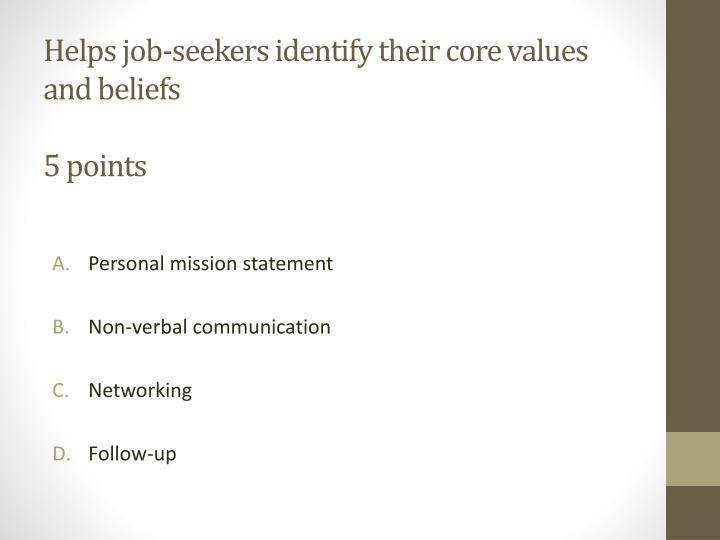 Helps job-seekers identify their core values and