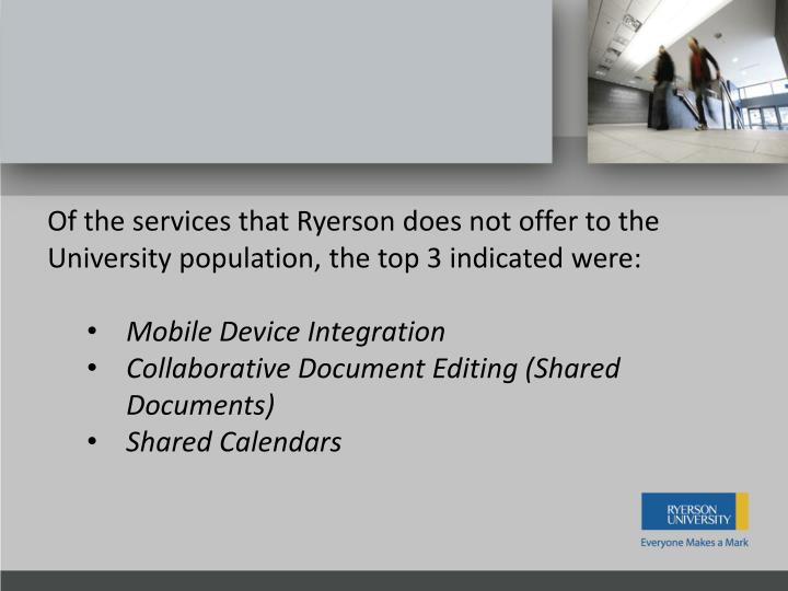 Of the services that Ryerson does not offer to the University population, the top 3
